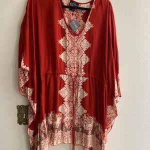 Tunic sleeve midi dress